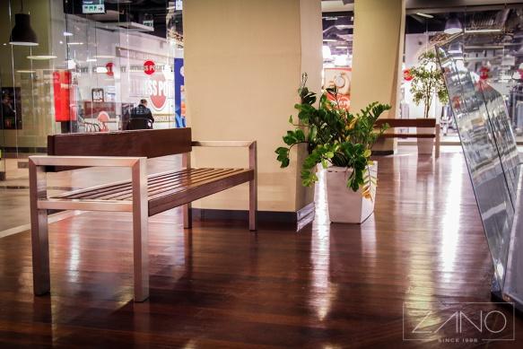 ławka ze stali nierdzewnej do galerii handlowej